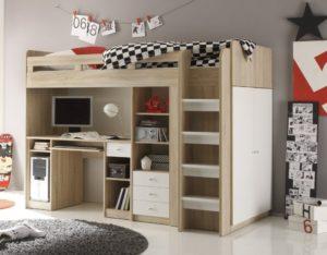 Bega Hochbett mit Schreibtisch und Schrank